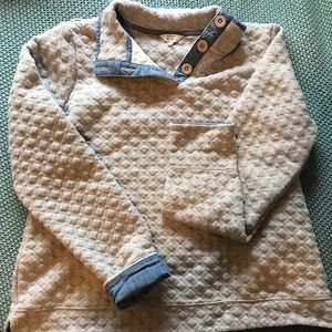 Grey and blue textured sweater